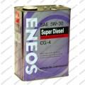 """Масло моторное полусинтетическое ENEOS """"SUPER DIESEL CG-4 5W-30"""", 4 л."""